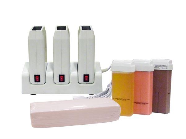 Imagen de Kit Depilación Profesional Depilflax (Base Trío + 3 Calentadores + Cera roll-on + Bandas)