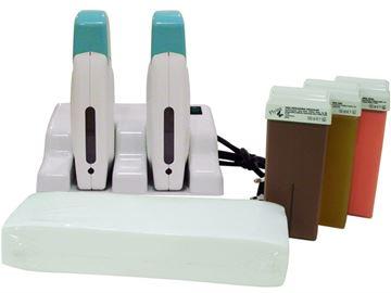 Imagen de Kit Depilación Profesional DUOFLY (Base + 2 aparatos + cera roll-on + bandas)