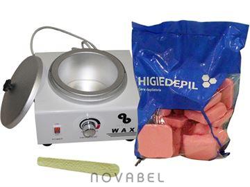 Imagen de Kit de Fundidor de Cera Caliente 800 gr. HD 218 + 1 Kilo de cera + Espátula