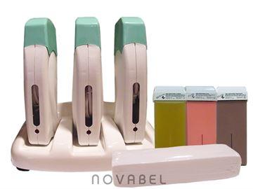 Imagen de Kit de Base con 3 aparatos de Depilación de Cera Tibia Profesional tessiline + cera roll-on + bandas