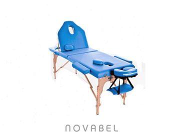 Imagen de Camilla de masaje plegable de madera 186 x 66 cms con respaldo Plus Color Azul