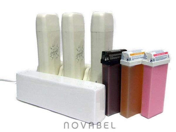 Imagen de Base con tres calentadores de cera tibia Nears + Cera + Bandas