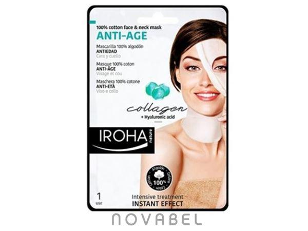 Imagen de Mascarilla en Tisú Intensiva para Cara y Cuello Antiarrugas Collagen Plus Iroha Nature
