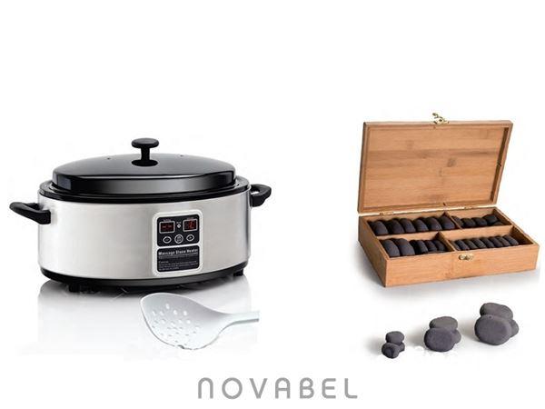 Imagen de Kit calentador 4,5 litros de piedras de masaje y caja de 36 piedras de basalto