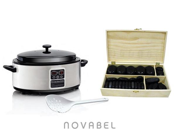 Imagen de Kit calentador 4,5 litros de piedras de masaje y caja de 45 piedras de basalto