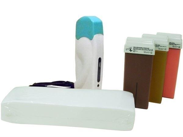 Imagen de Kit con 1 calentador de cera tibia Tessiline + cera roll-on + bandas