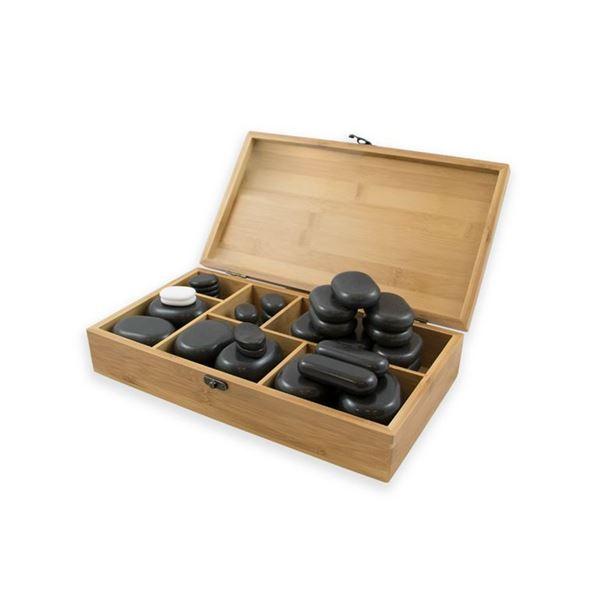 Imagen de Caja de 45 Piedras de Basalto Breathe Weelko para Masaje WKS014
